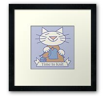 Time to Knit Cat Framed Print