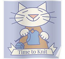 Time to Knit Cat Poster