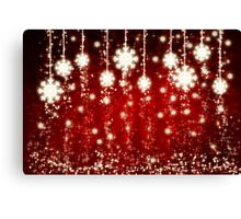 Red background with snowflakes Canvas Print