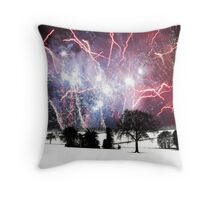 Winter Landscape with Fireworks Throw Pillow