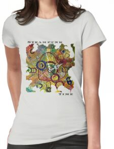 STEAMPUNK HEART TIME FANTASY RETRO CLOCK, STEAMPUNK TIME QUOTE Womens Fitted T-Shirt