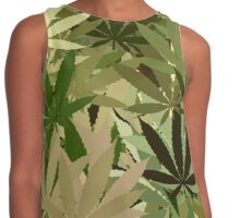 Marijuana Cannabis Weed Pot Camouflage  Contrast Tank