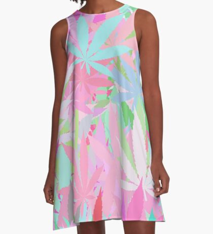 Marijuana Cannabis Weed Pot Spring Colors A-Line Dress