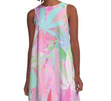 Marijuana Cannabis Weed Pot Spring Colors A-Line Dress