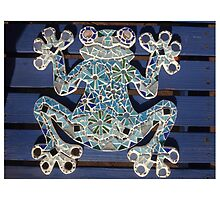 Blue Mosaic Frog by Elaine Farmer
