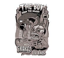 Boy from the sewer with snakes for eyes Photographic Print