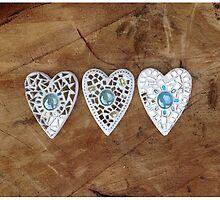 Three Hearts Mosaic by Elaine Farmer