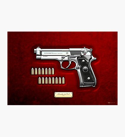 Beretta 92FS Inox over Red Velvet  Photographic Print
