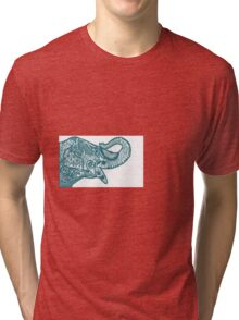 Elephant in Turquoise  Tri-blend T-Shirt