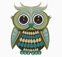 Star Eye Owl - Green 2 Kids Clothes