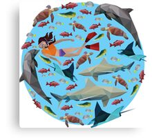 Low Poly Snorkeling Scene Canvas Print