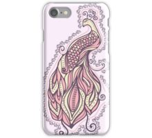 Boho illustration of peacock or phoenix bird. Fashion design. Hand-drawn painting in zentangle style.  iPhone Case/Skin