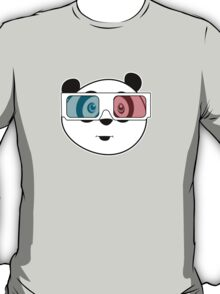 Panda - 3D Glasses (Black) T-Shirt