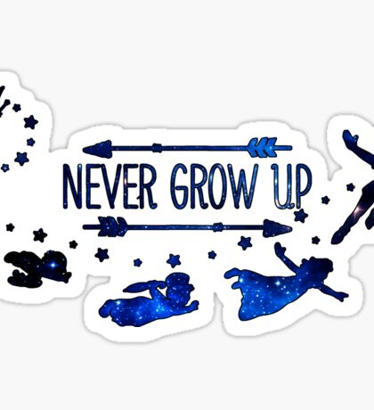 Never Grow Up Blue Sticker