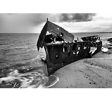 Black and white. Shipwrecked HMQS Gayundah Photographic Print