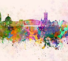 Cardiff skyline in watercolor background by paulrommer