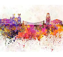 Bristol skyline in watercolor background Photographic Print