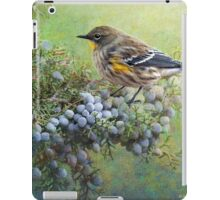 autumn juniper berries and yellow rumped warbler iPad Case/Skin