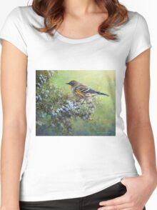 autumn juniper berries and yellow rumped warbler Women's Fitted Scoop T-Shirt
