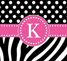 Black and White Zebra Stripes and Polka Dots K Monogram by DebiDalio