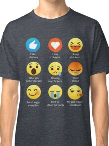 I Love Chickens Emoji Emoticon Graphic Tee Backyard Urban Chicken Farmers Funny Shirt Classic T-Shirt