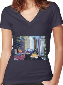 Uncle Eddy's Yellow Taxi Women's Fitted V-Neck T-Shirt