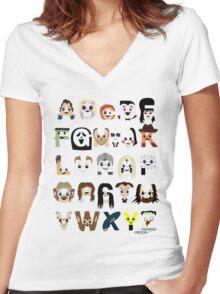 Horror Icon Alphabet Women's Fitted V-Neck T-Shirt