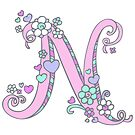 Letter N drawing doodle monogram art by Sarah Trett