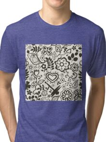 Seamless texture with flowers Tri-blend T-Shirt