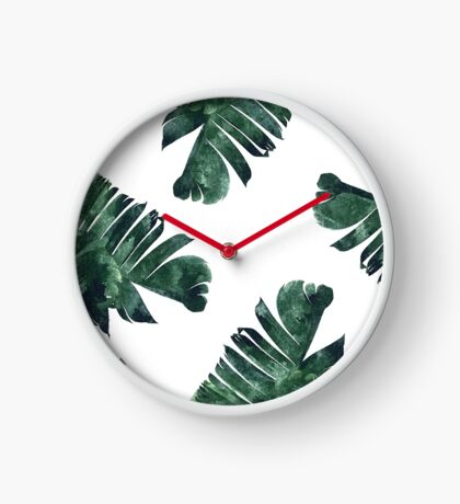 Banana Leaf #Watercolor Pattern #redbubble Clock