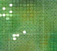 Watercolor Abstraction: Green Grid Texture Sticker