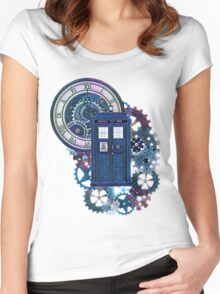 Time and Space Doctor Who inspired Art Women's Fitted Scoop T-Shirt