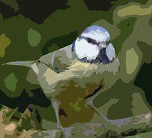 "Birds story, "" fawn paint Picasso ! "" 24 (c) (h) the Blue Tit - Olao-Olavia by Okaio Créations  by okaio caillaud olivier"