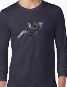 Summer Vacation Raccoon Long Sleeve T-Shirt
