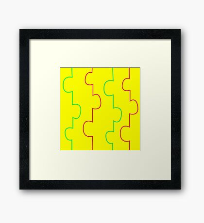 Unique Yellow, Red and Green Stripe Print Framed Print