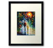 RAINY WALK WITH DADDY - Leonid Afremov Framed Print