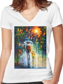 RAINY WALK WITH DADDY - Leonid Afremov Women's Fitted V-Neck T-Shirt