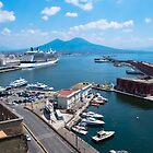Naples landscape from above, view of Vesuvius, Italy by ssviluppo