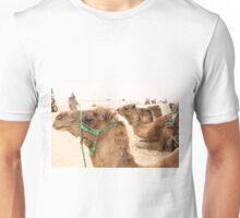 Camels in desert, Unisex T-Shirt