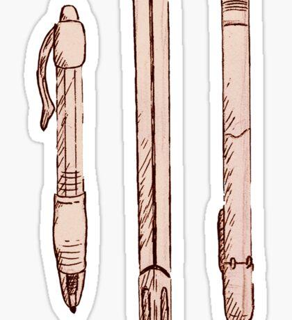 Vintage sketchy pens Sticker