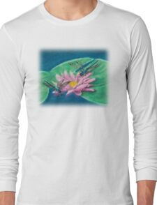 Dragonflies On Water Lily Long Sleeve T-Shirt