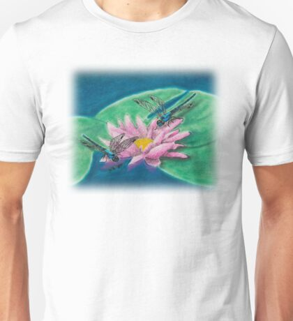 Dragonflies On Water Lily Unisex T-Shirt