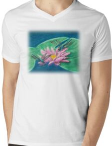 Dragonflies On Water Lily Mens V-Neck T-Shirt