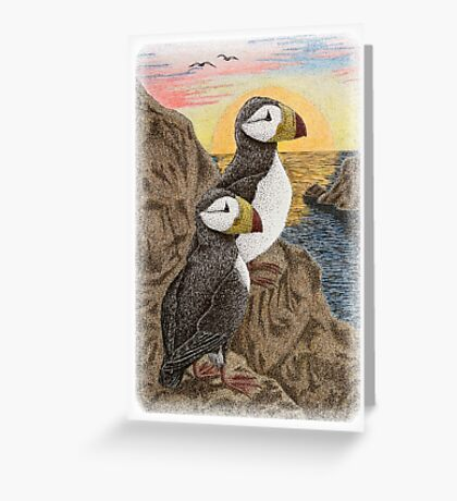 Puffins on Cliff Watching Sun Setting Greeting Card