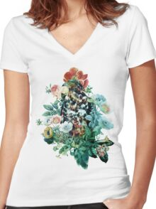 Bird in Flowers T-shirt femme moulant col V