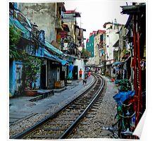 Railway tracks through Hanoi, Vietnam - square photo Poster
