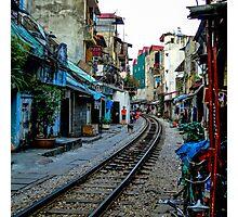 Railway tracks through Hanoi, Vietnam - square photo Photographic Print
