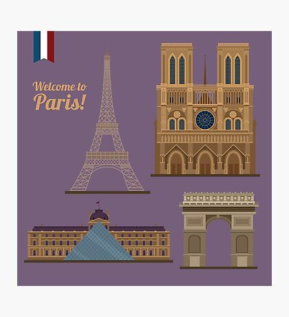 Paris Travel Set. Famous Places - Eiffel Tower, Louvre, Notre Dame, Arc of Triomphe Photographic Print