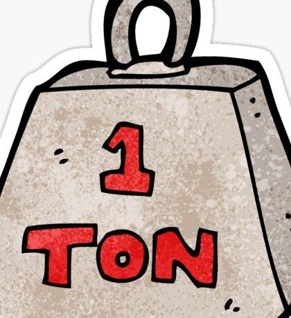 cartoon one ton weight Sticker