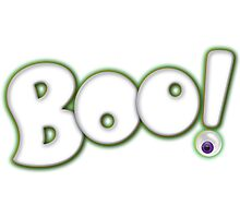 Cartoon Bold Hand Lettering 'Boo' Halloween Typography - with purple eyeball Photographic Print